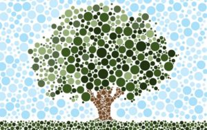 tree in pointillism